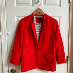 The Limited red collarless blazer, size M
